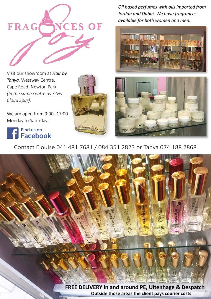Oil based perfumes with oils imported from Jordan and Dubai. We have fragrances available for both women and men. 