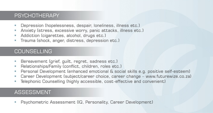 Psychotherapy * Counselling * Assessment