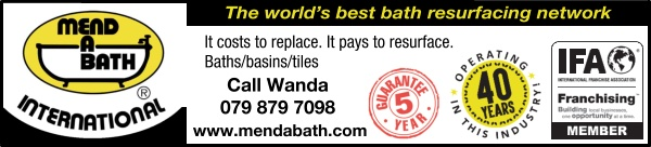 Mend a Bath InternationalThe world's best bath resurfacing networkIt costs to replace. It pays to resurface.Baths/basins/tilesCall Wanda 079 879 7098www.mendabath.com